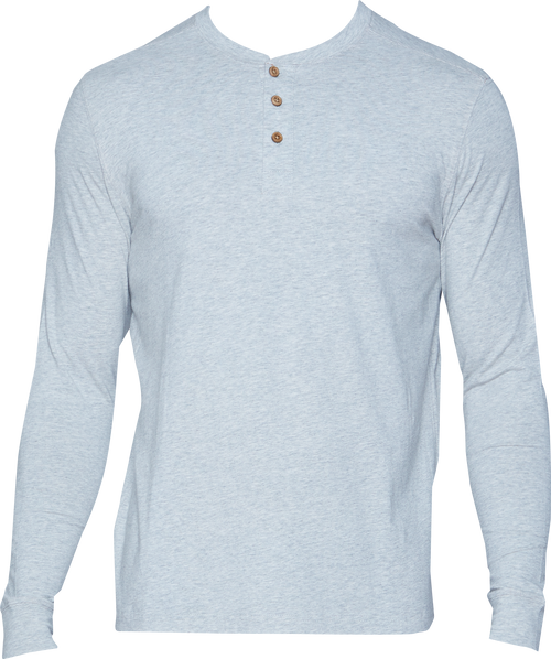 Henley - Long Sleeve - Heather Grey
