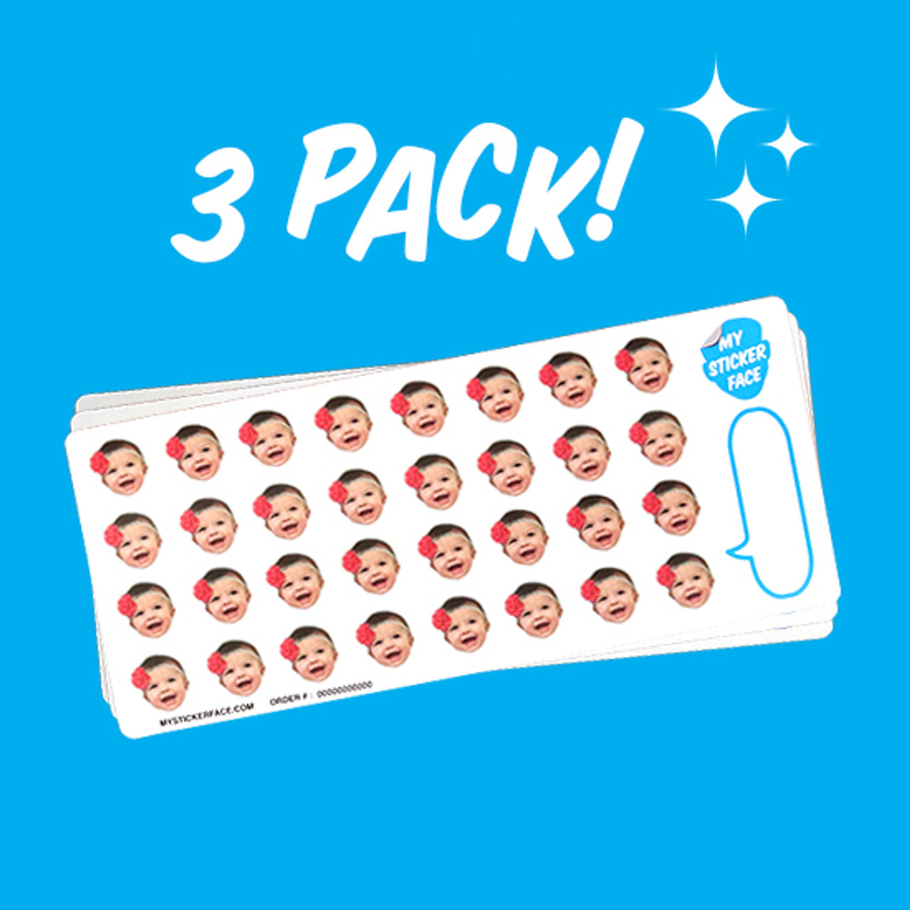 "0.75"" Face Sticker Sheet - 3 Pack"