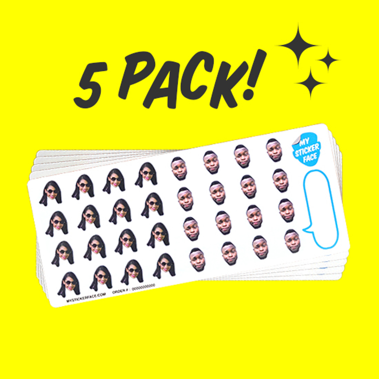 "Duo 0.75"" Face Sticker Sheet - 5 Pack"