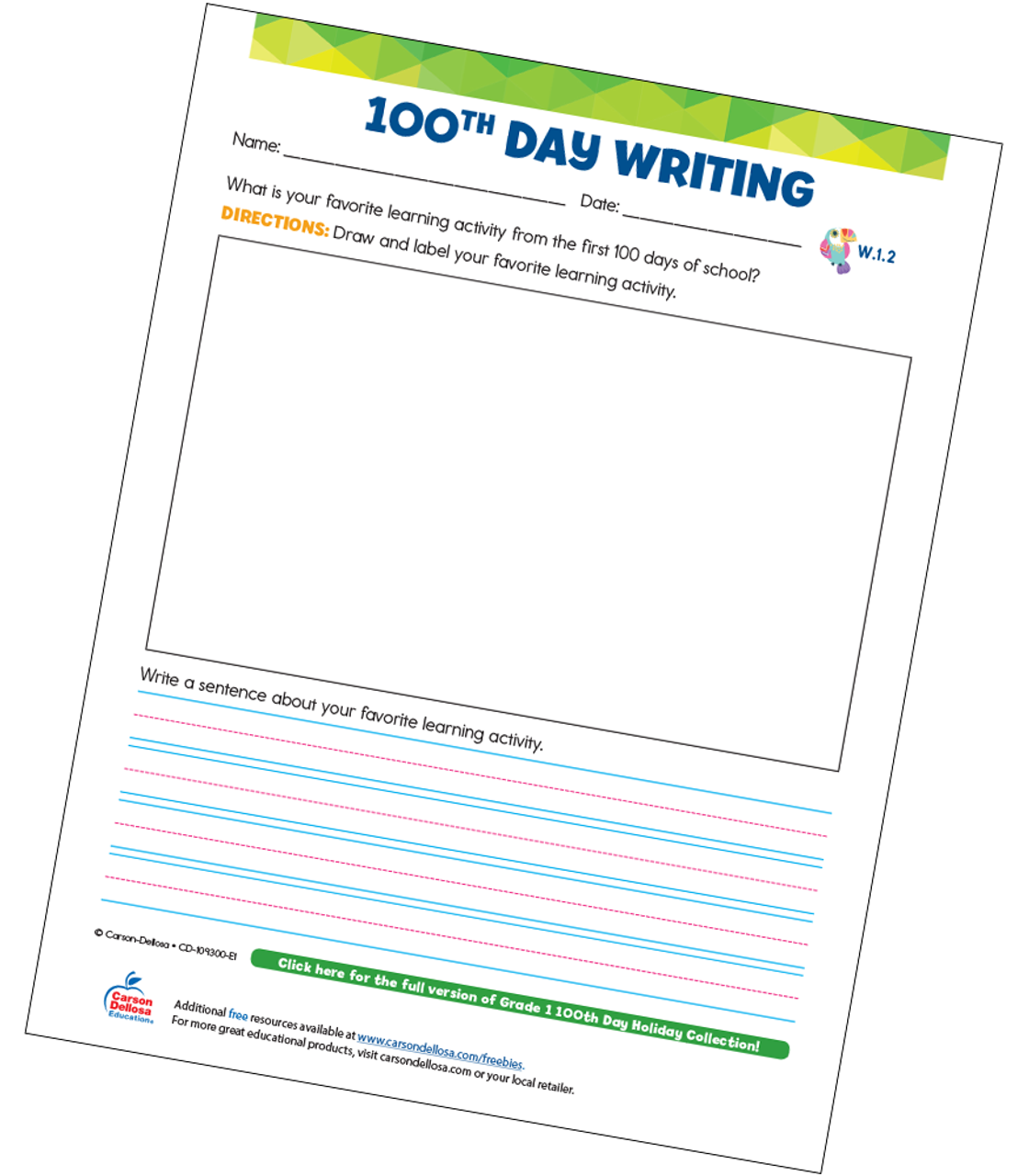 photograph regarding Free Printable Writing Prompts known as 100th Working day Creating Instructed Quality 1 Absolutely free Printable Carson Dellosa