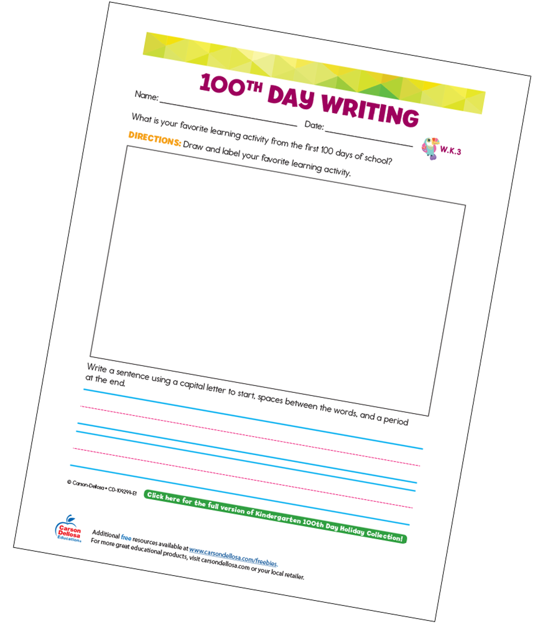 picture relating to Printable Writing Prompt named 100th Working day Crafting Advised Kindergarten Absolutely free Printable