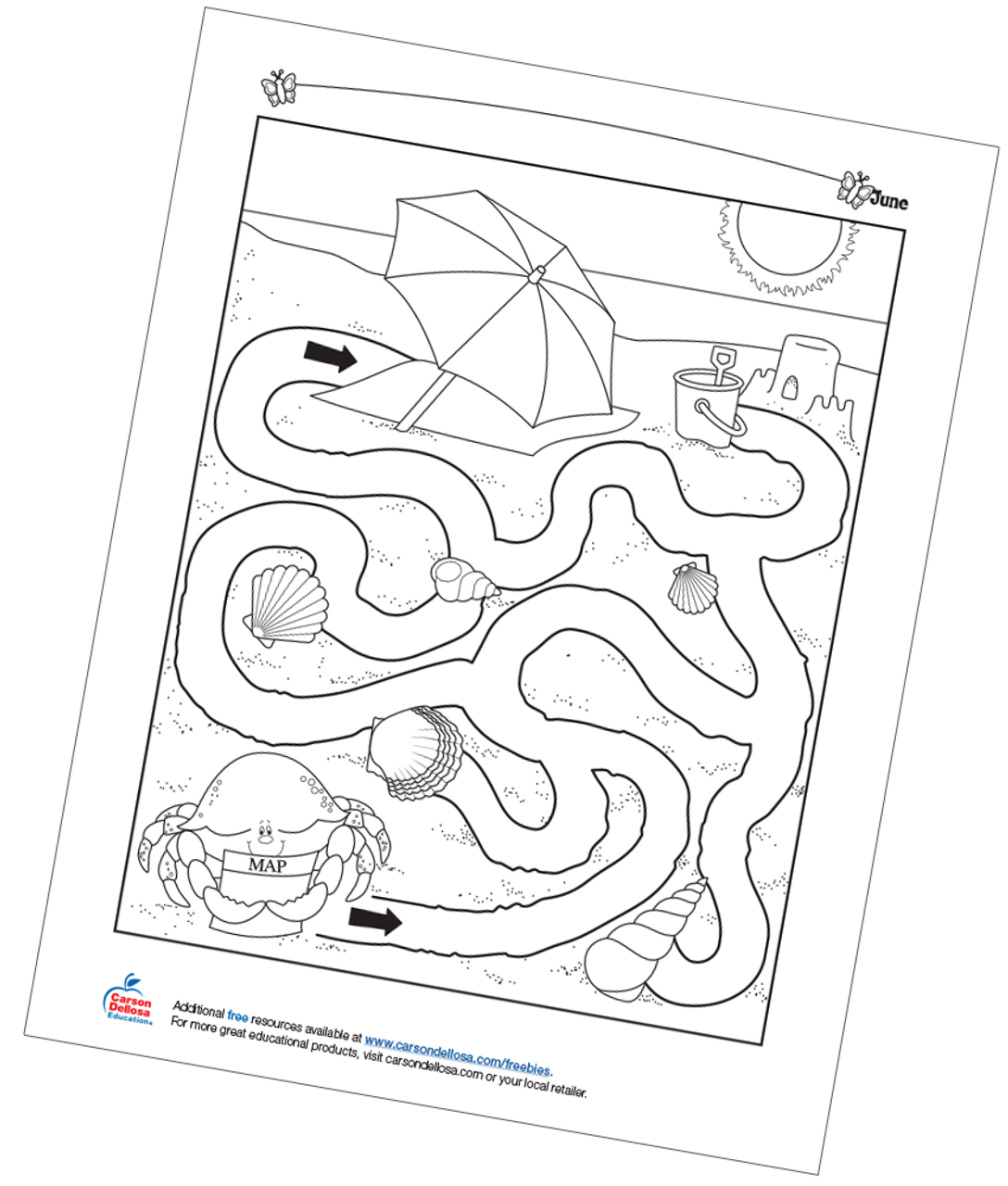 photo about Free Printable Beach Stencils called Beach front Maze Cost-free Printable - Carson Dellosa Education and learning