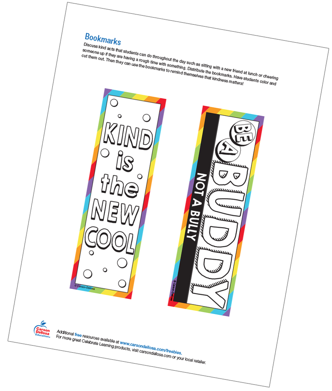 photo about Bookmarks Printable referred to as Bookmarks Absolutely free Printable - Carson Dellosa Training