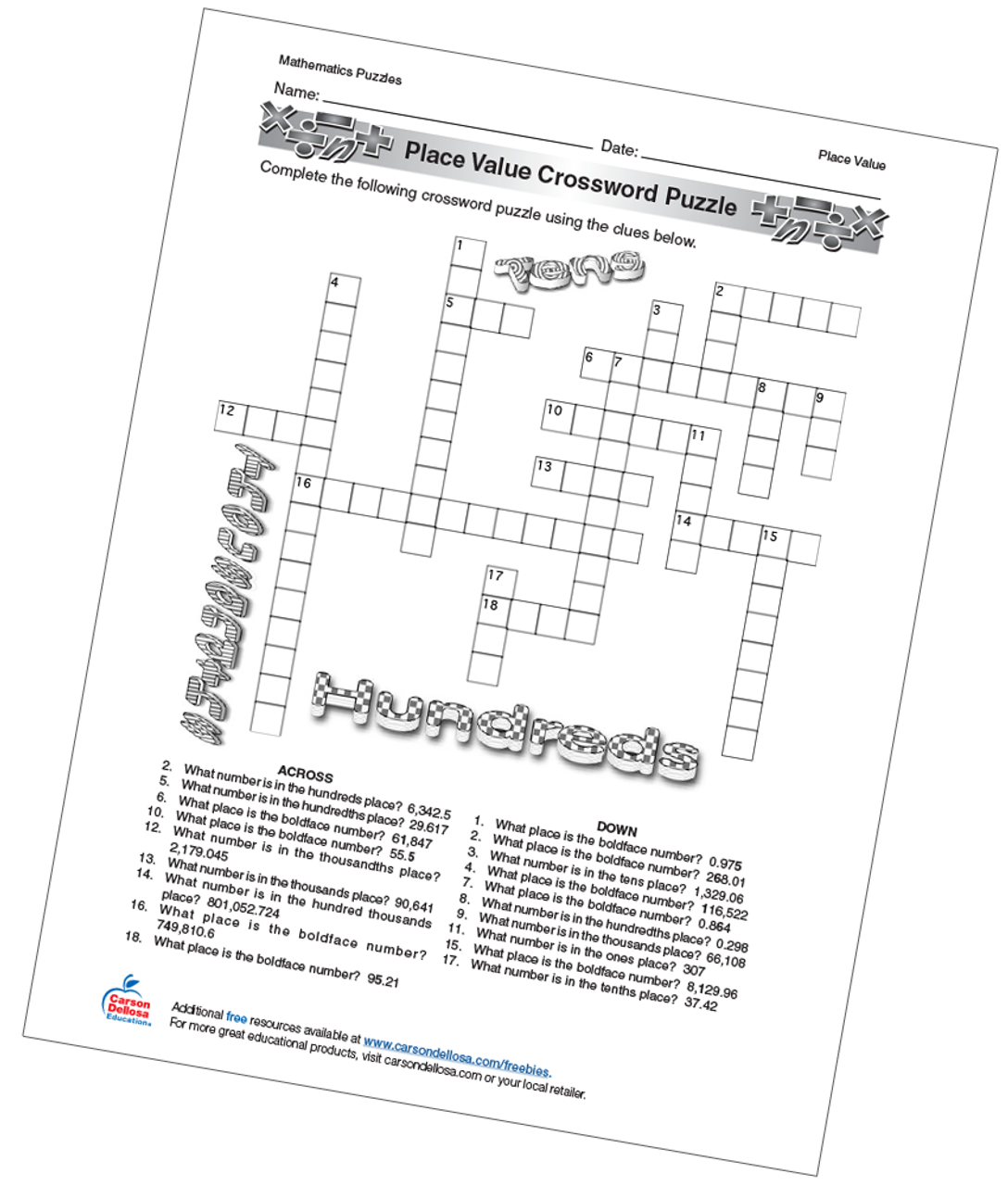photo relating to Name Puzzle Printable known as Location Worth Crossword Puzzle No cost Printable - Carson Dellosa