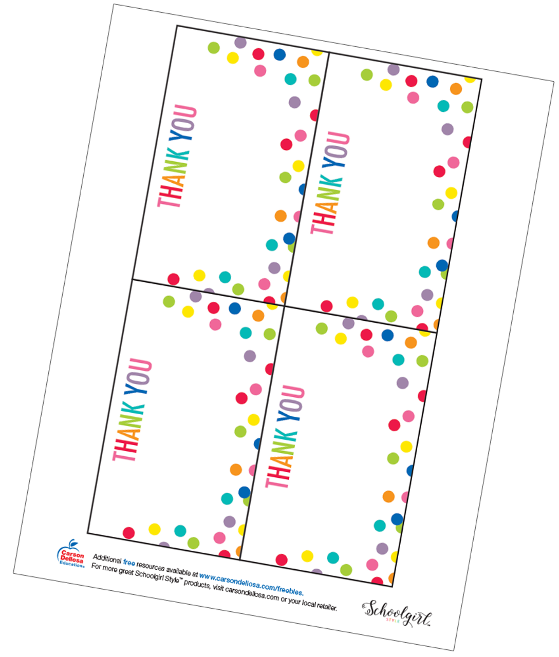 photograph about Thank You Card Printable known as Schoolgirl Design and style: Confetti Thank On your own Playing cards Totally free Printable