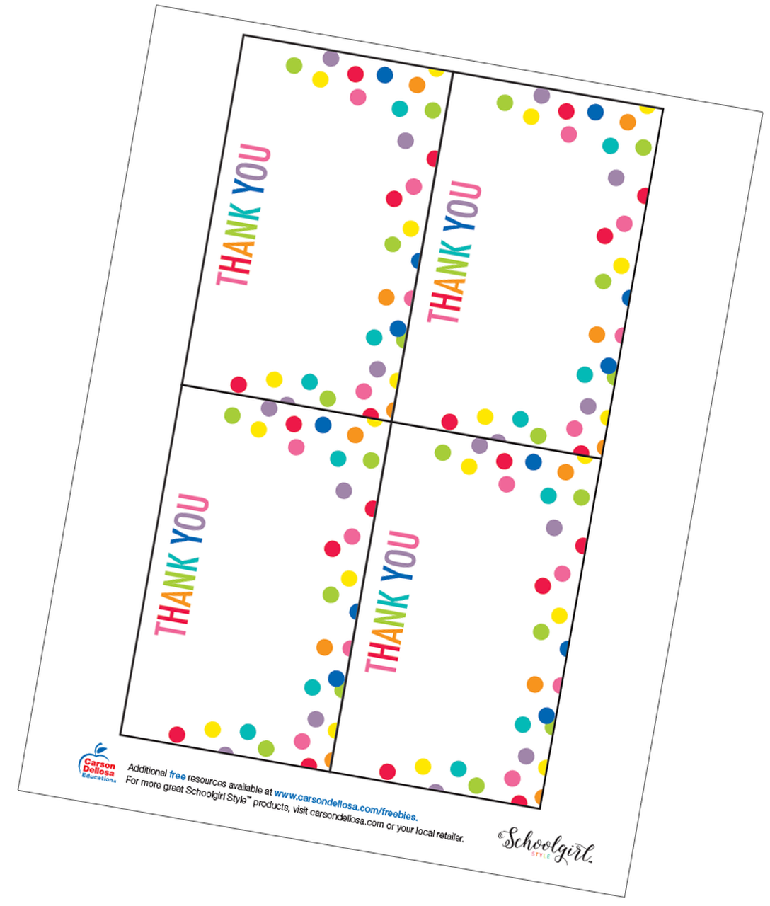 graphic regarding Thank You Cards Free Printable named Schoolgirl Structure: Confetti Thank Oneself Playing cards Absolutely free Printable