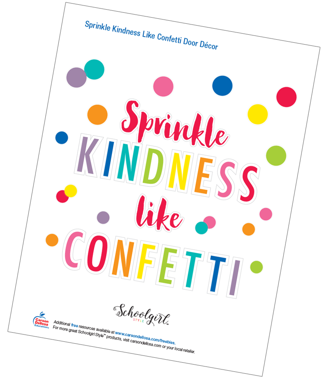picture regarding Free Printable Decor identify Schoolgirl Design: Sprinkle Kindness Which include Confetti Doorway Décor