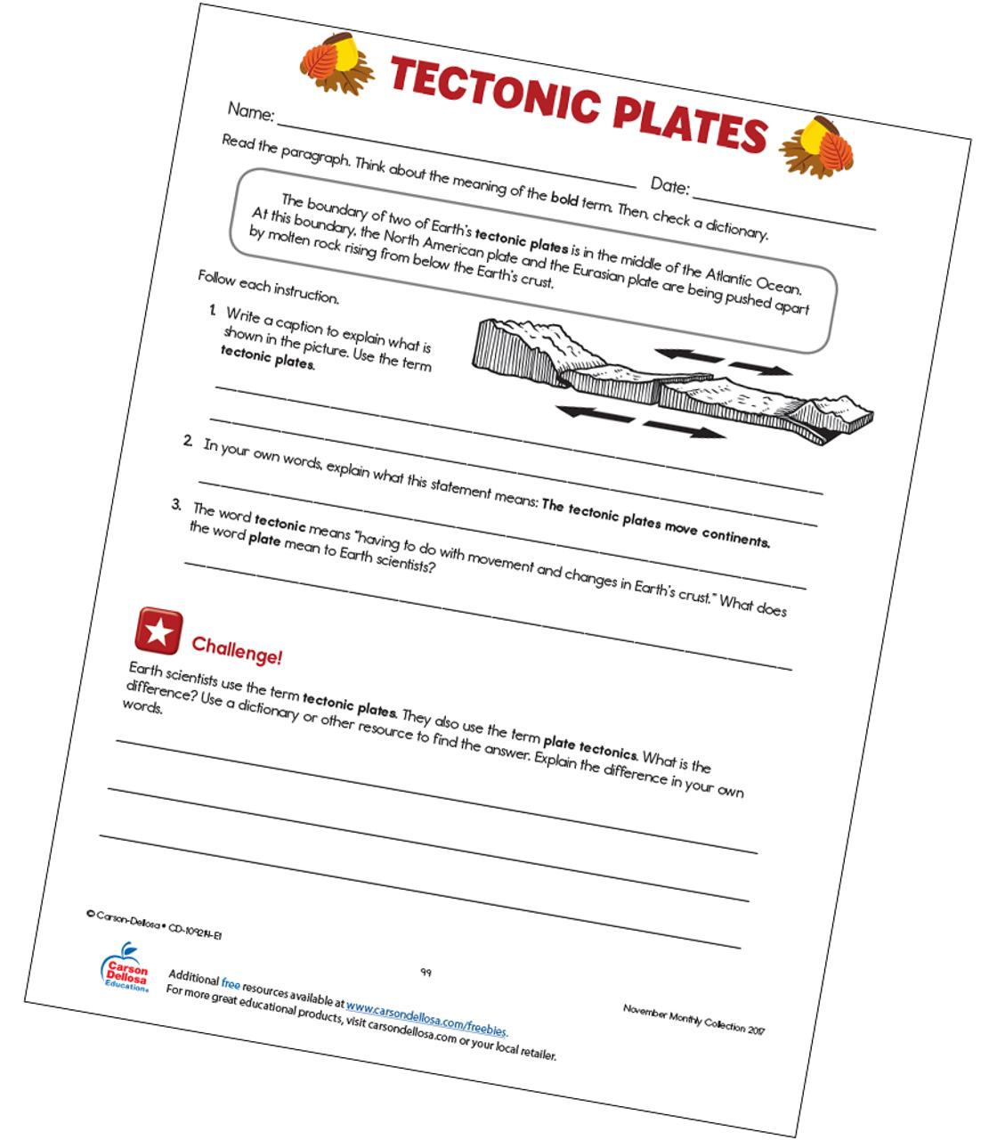 Tectonic Plates Free Printable | Carson Dellosa