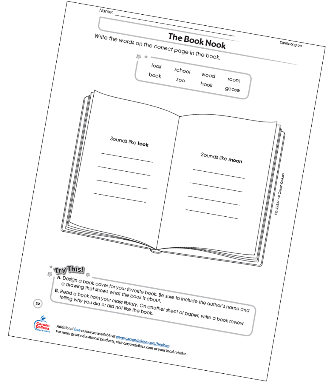 graphic relating to Free Printable Books for 2nd Grade identify The Guide Nook Free of charge Printable Carson Dellosa