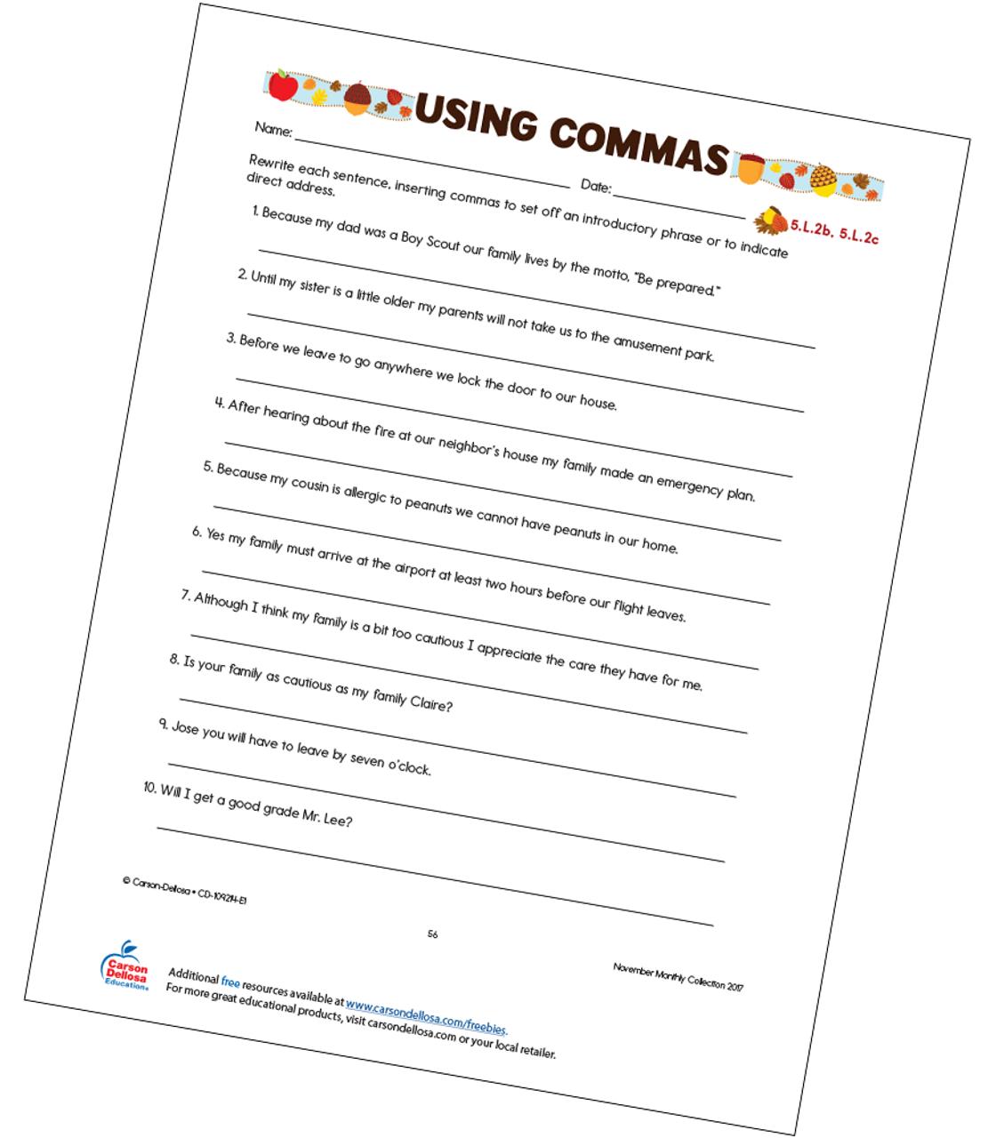 Using Commas Free Printable Carson Dellosa