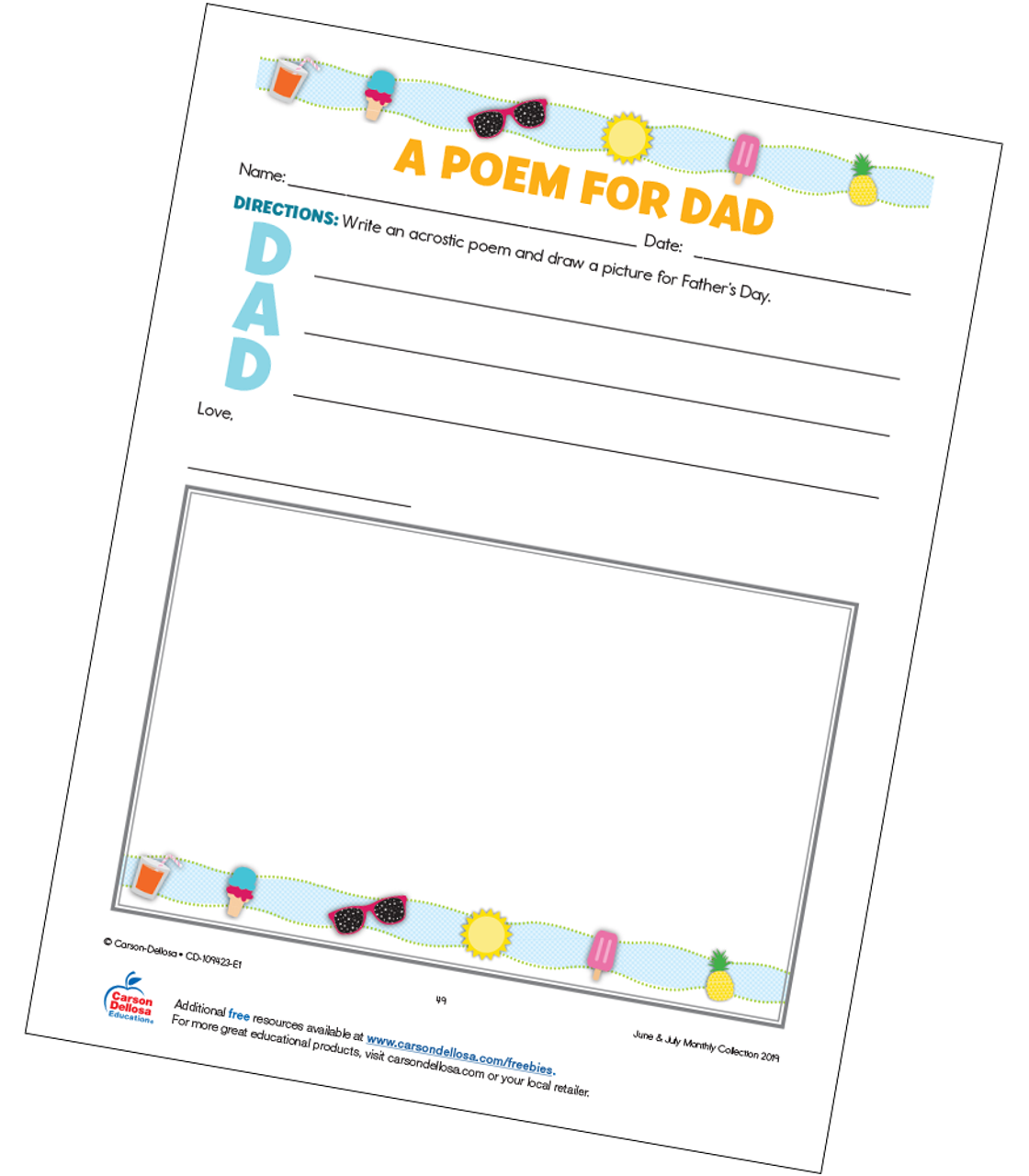 photo relating to Father's Day Printable referred to as Acrostic Fathers Working day Poem Absolutely free Printable - Carson Dellosa