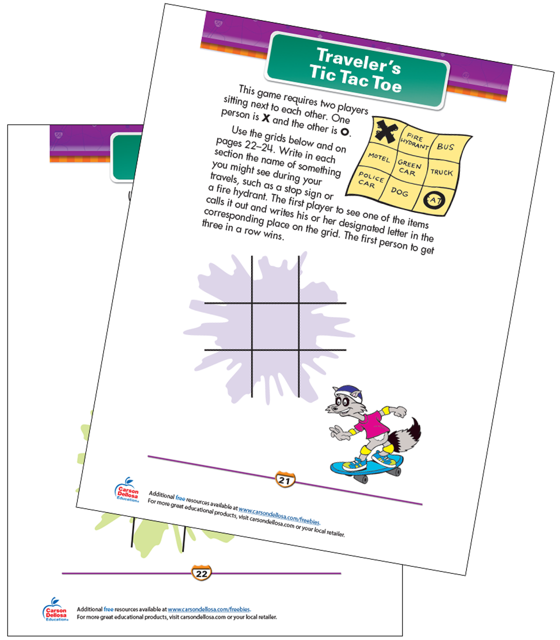 picture about Printable Tic Tac Toe titled Travellers Tic Tac Toe Cost-free Printable Carson Dellosa