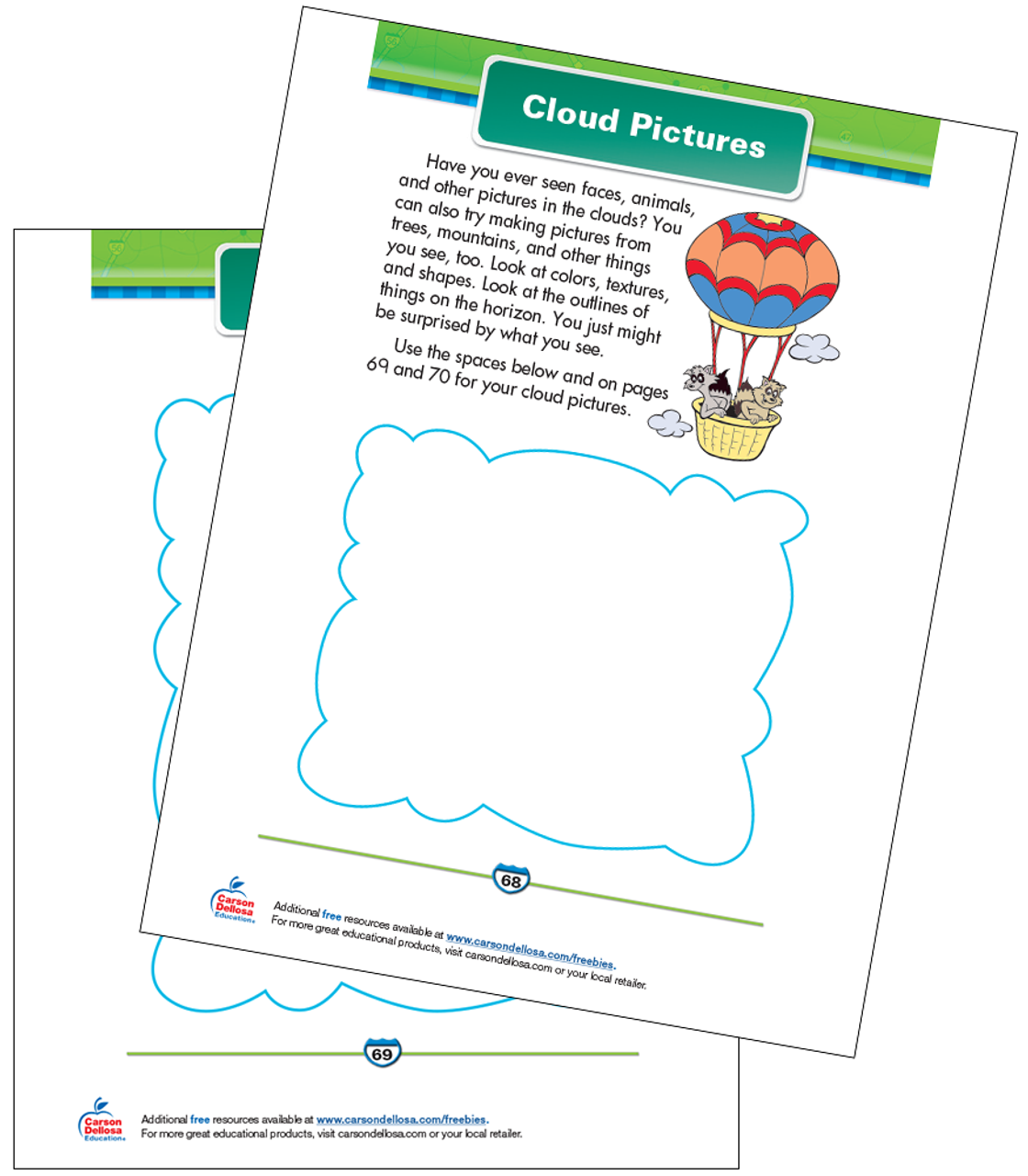 image about Cloud Printable referred to as Cloud Shots Totally free Printable Carson Dellosa