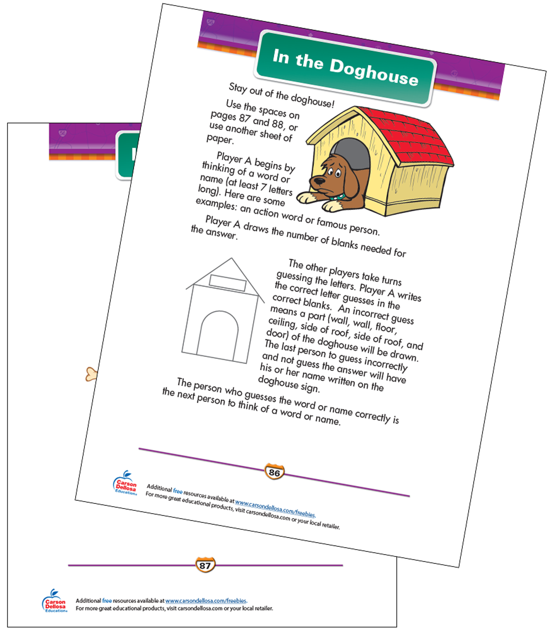 graphic regarding Hangman Printable referred to as Within just the Doghouse Free of charge Printable Carson Dellosa