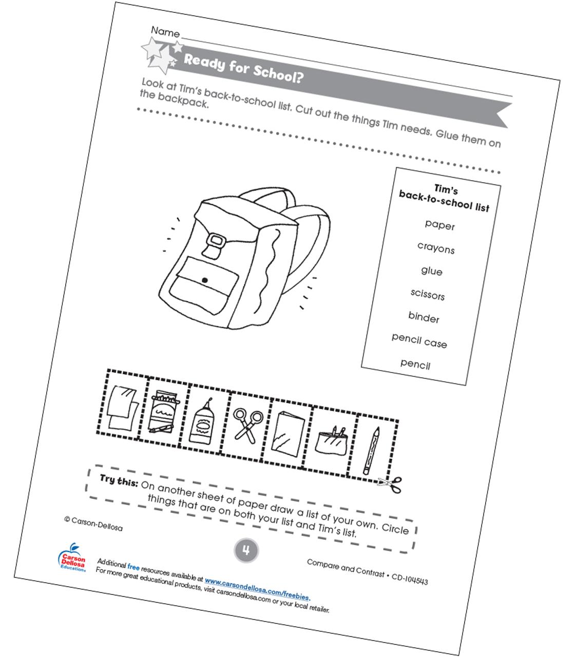Ready for School Free Printable | Carson Dellosa