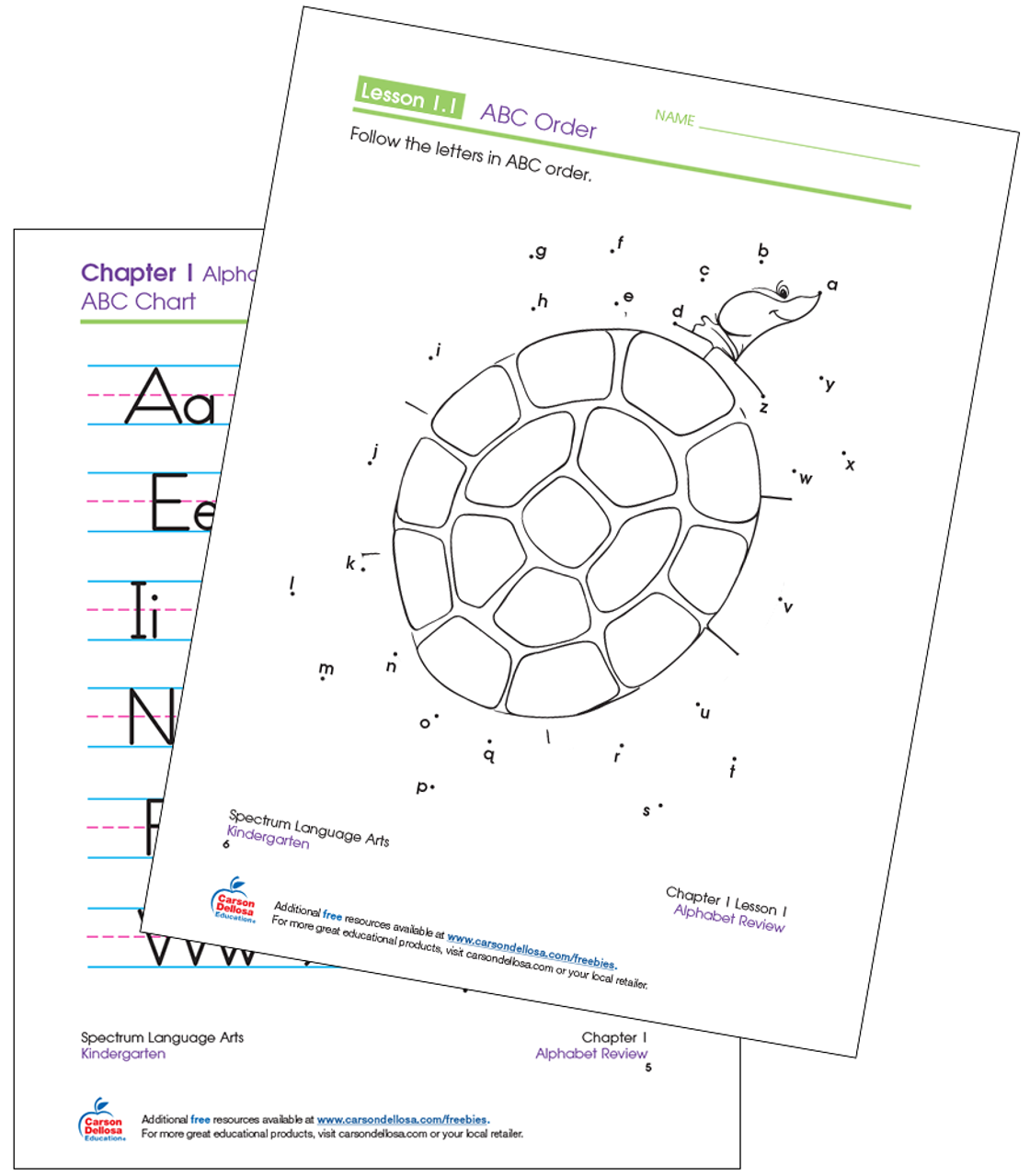 graphic relating to Abc Printable identify ABC Talk-the-Dots Kindergarten Free of charge Printable Carson