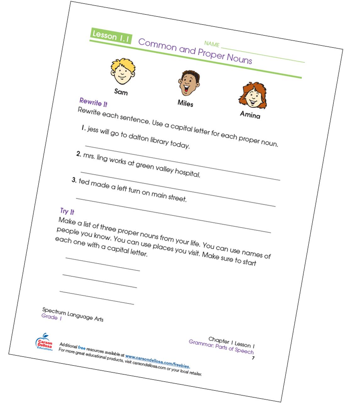 Writing Common and Proper Nouns Grade 1 Free Printable
