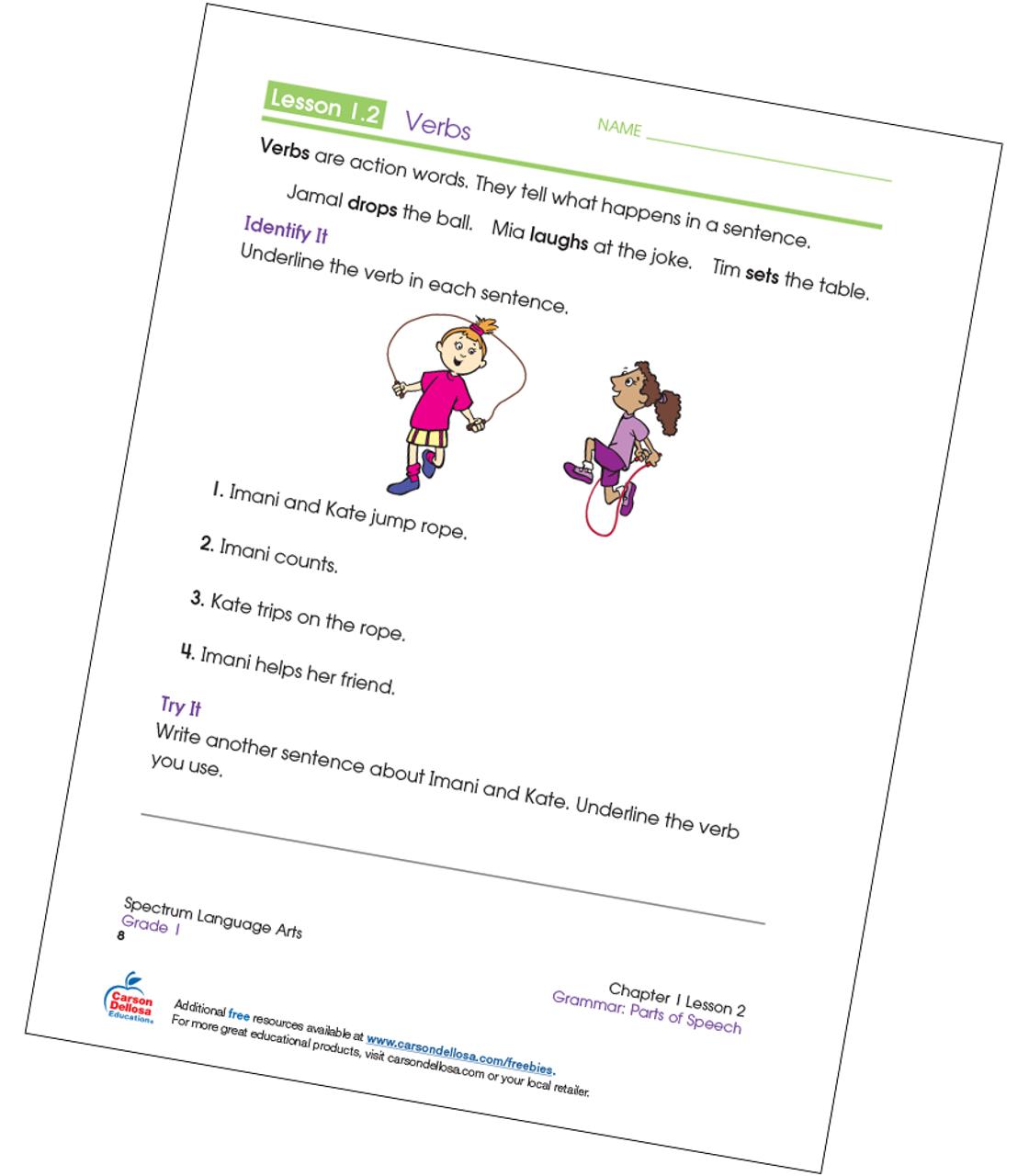 - Identifying Verbs Grade 1 Free Printable Carson Dellosa