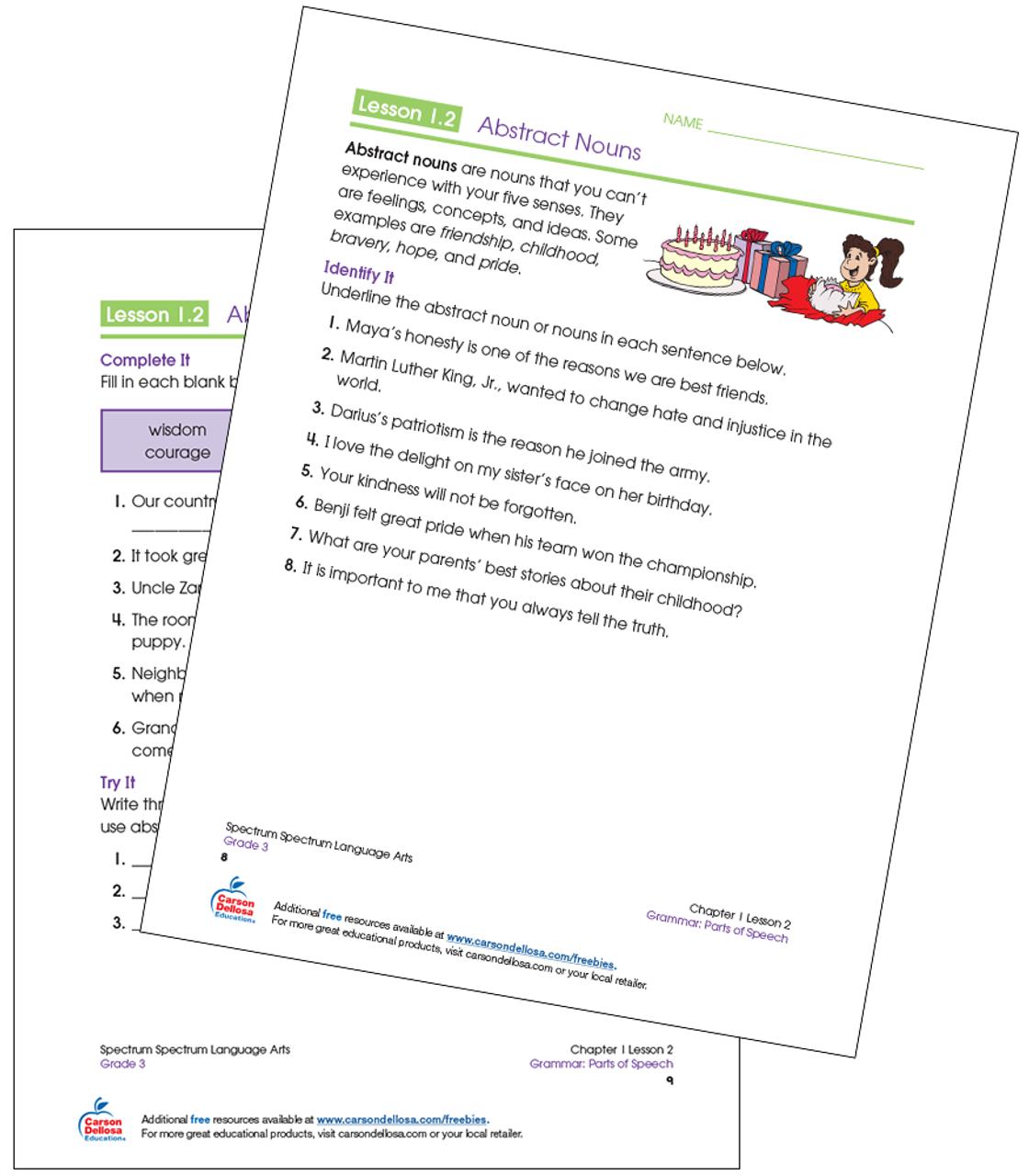 Identifying Abstract Nouns Grade 3 Free Printable | Carson ...