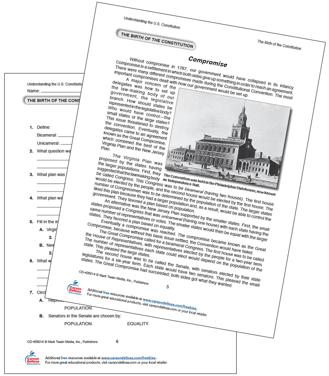Birth Of The Constitution The Compromise Free Printable Carson Dellosa