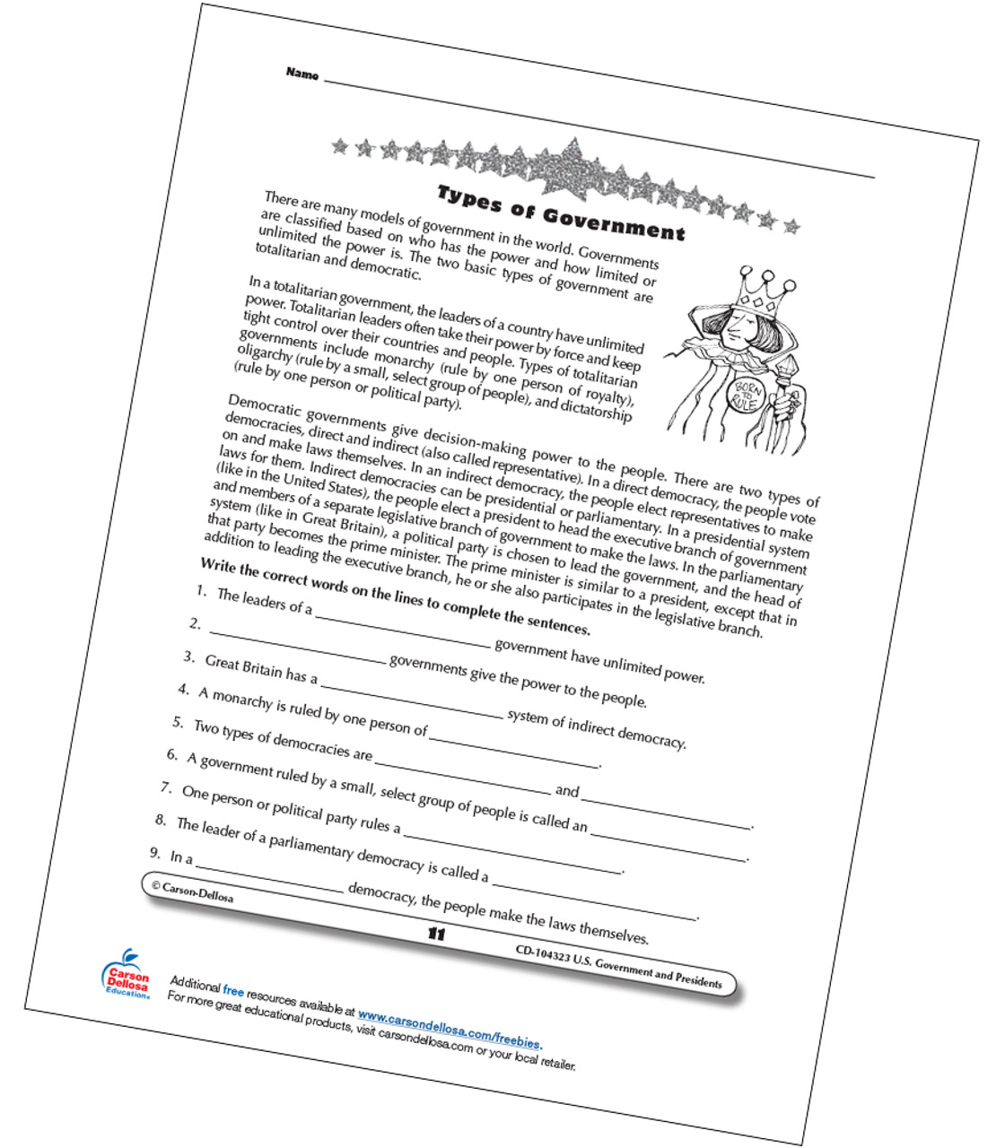 Types of World Governments for Grades 3-5 Free Printable ...