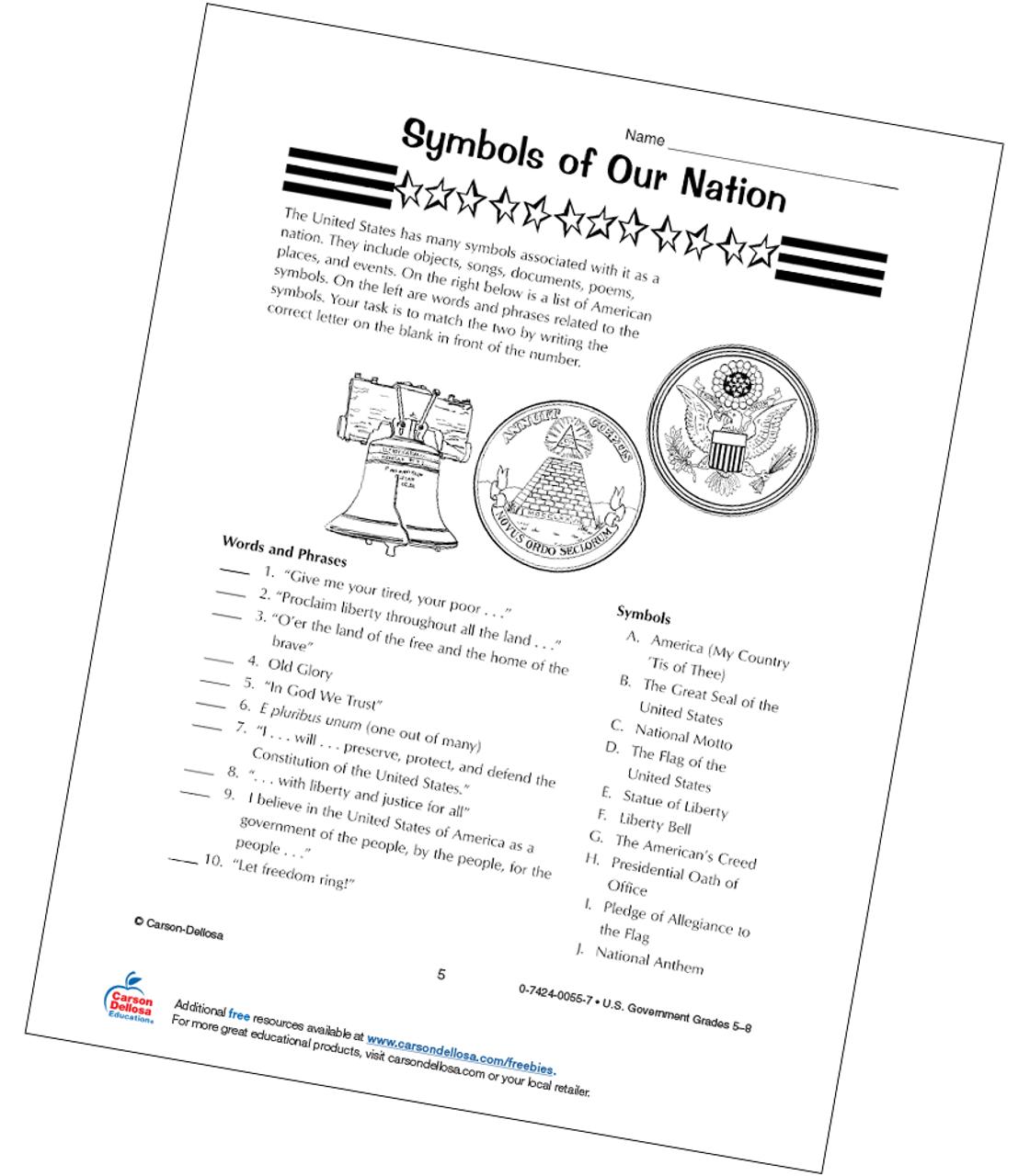 - Symbols Of Our Nation Grades 5-8 Free Printable Carson Dellosa