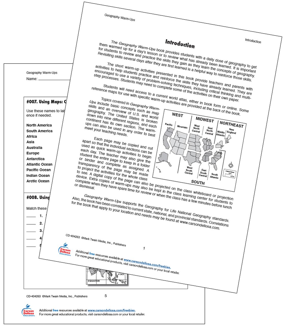 - 16 Using Maps Class Warm-Ups Grade 5-8 Free Printable Carson Dellosa