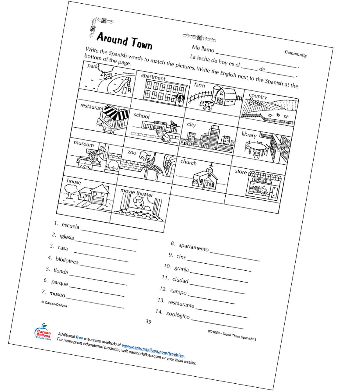 - Places Around Town Grade 3 Spanish Free Printable Carson Dellosa