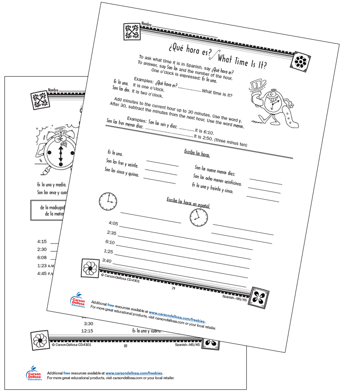 - Time Vocabulary And Expressions Grade 6-12 Spanish Free Printable