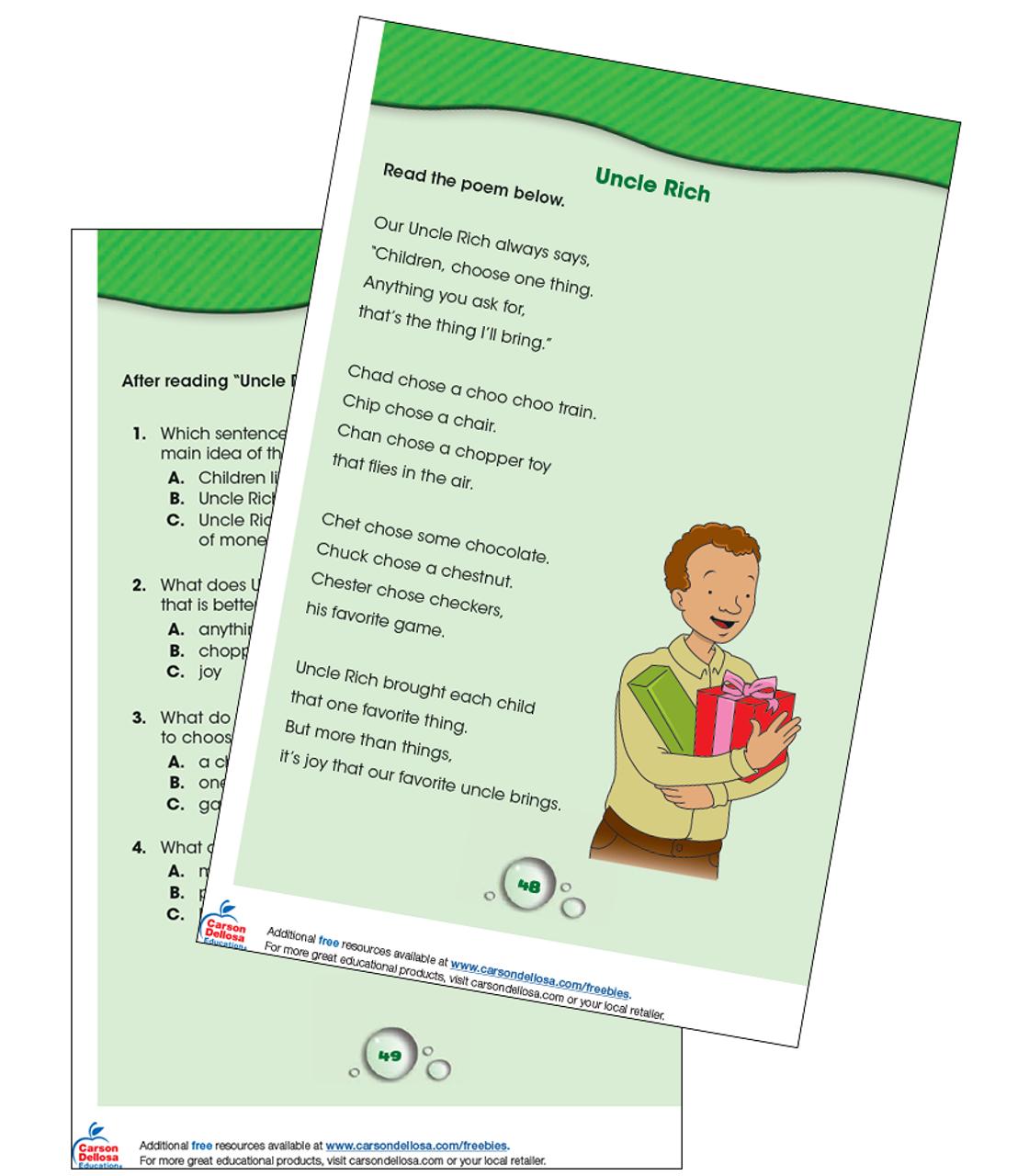 - Uncle Rich Reading Comprehension Grade K-1 Free Printable Carson