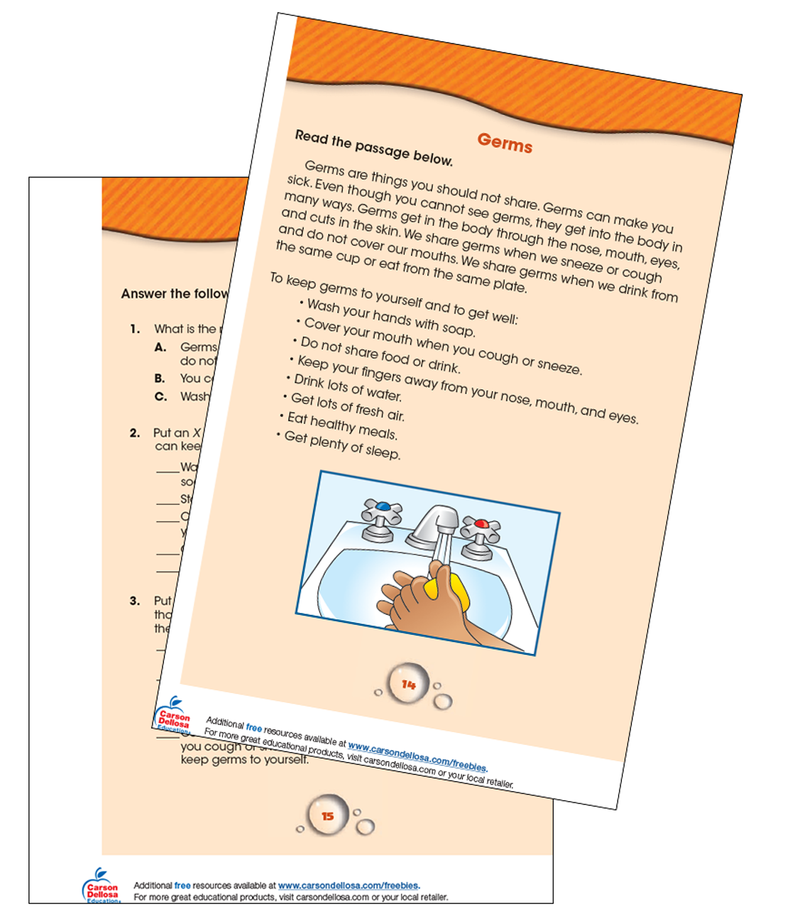 - Germs Reading Comprehension Grade 1-2 Free Printable Carson Dellosa