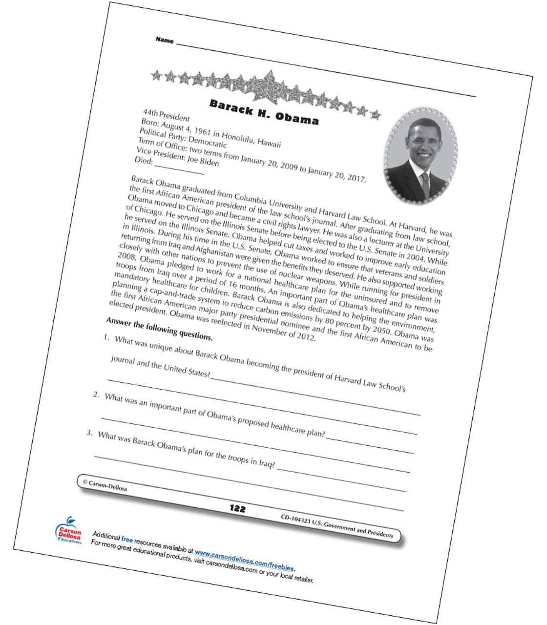 - Barack Obama Grades 3-5 Free Printable Carson Dellosa
