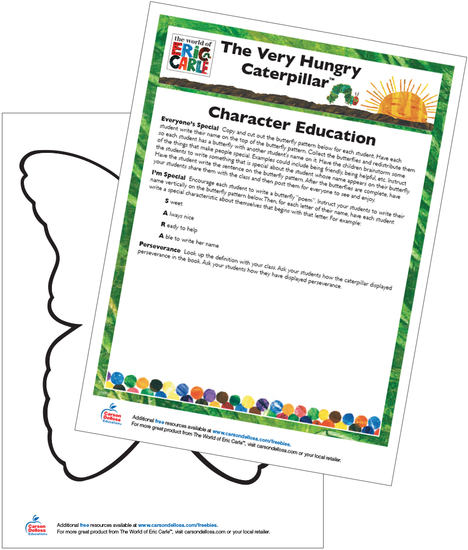 The Very Hungry Caterpillar Character Education Free Printable