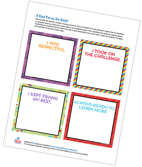 A Kind Pat on the Back!: Celebrate Learning Award Certificates Free Printable