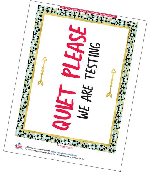 Aim High Classroom Testing Sign Free Printable Sample Image