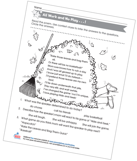 All Work and No Play Free Printable Worksheet