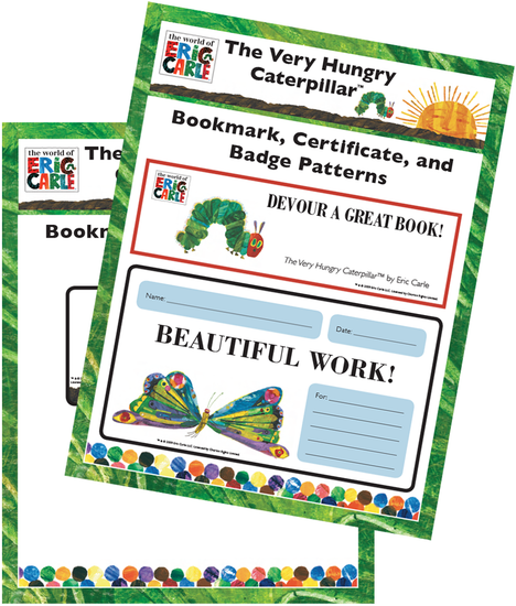 The Very Hungry Caterpillar Bookmark, Certificate, and Badge Pattern Free Printable