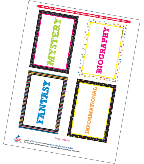 Colorful Chalkboard Classroom Library Labels Free Printable