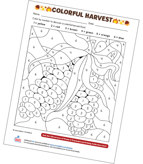 Colorful Harvest Free Printable Coloring Page