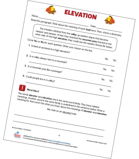 Elevation Free Printable Sample Image