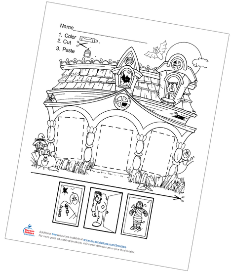 Haunted House Color, Cut, and Paste Free Printable Coloring Page