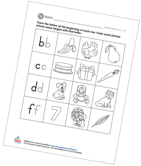 Initial Consonants bcdf Free Printable