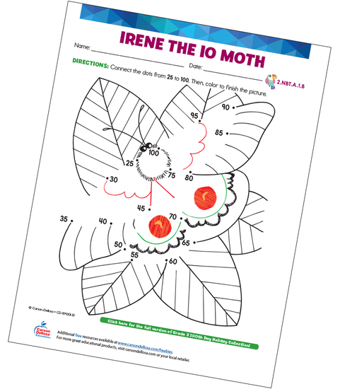 Irene the Io Moth (Connect the Dots) Free Printable Sample Image