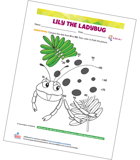 Lily The Ladybug (Connect the Dots) Free Printable Sample Image