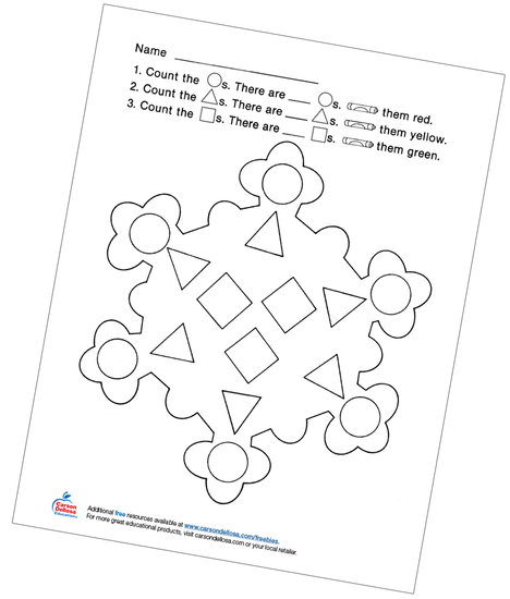 Snowflake Count the Shapes Free Printable