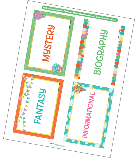 Up and Away Classroom Library Labels Free Printable