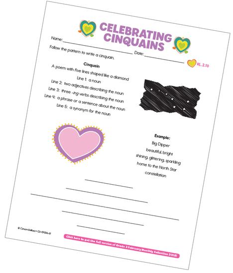Celebrating Cinquains Free Printable
