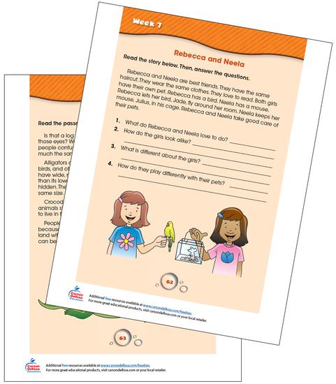 Week 7 Grades 1-2 Free Printable Sample Image