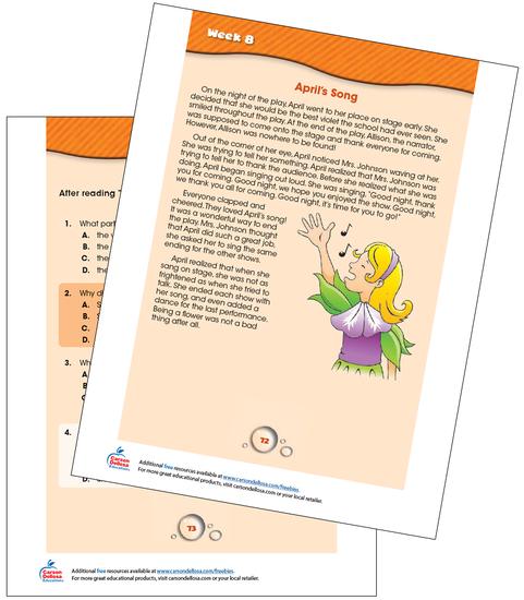 Week 8 Grades 1-2 Free Printable Sample Image