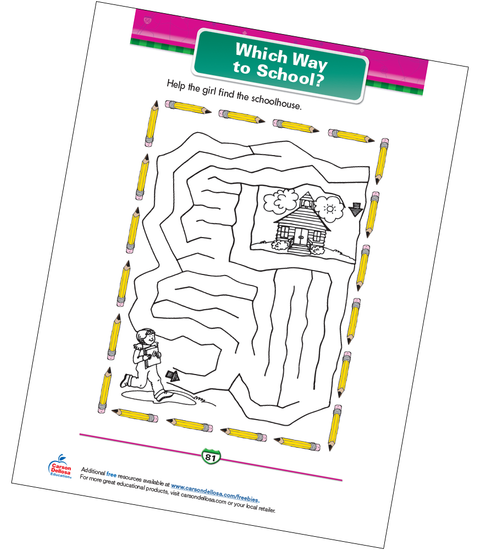 Which Way to School? Free Printable Sample Image
